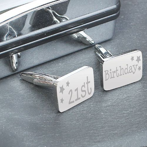 21st Birthday Cufflinks Gift in Silver box